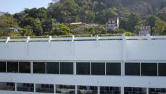 Aerial drone shot rising up past Sheraton Hotel Rio de Janeiro Stock Footage