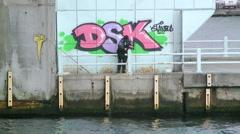 A man fishing on the Galata Bridge in Istanbul Turkey (Editorial) Stock Footage