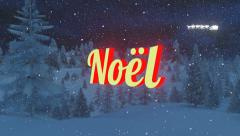 Animated Noel text in a snowy night forest Stock Footage