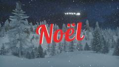 Animated red Noel text at snowfall night Stock Footage