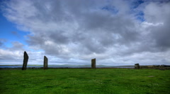 4K UltraHD The Stones of Stenness, a small ring of Standing Stones in Orkney Stock Footage