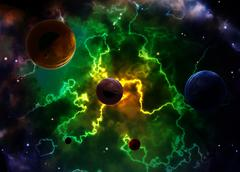 Space scene with planets and nebula Stock Photos