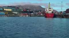 Greenland small town Qaqortoq 005 boat ride in small harbor Stock Footage