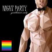 Vector illustration of a caucasian or asian man nude fit  body with bow tie  in Stock Illustration