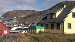Greenland small town Qaqortoq 017 meadow and colorful houses Stock Footage