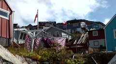 Greenland small town Qaqortoq 022 downtown inner courtyards Stock Footage
