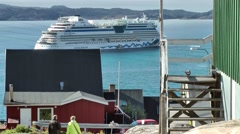 Greenland small town Qaqortoq 023 cruise ship at anchor in the bay - stock footage