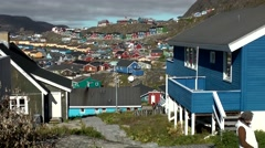 Greenland small town Qaqortoq 024 view on colorful settlement Stock Footage