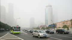 In the bad weather,the landmark of Guomao CBD are hazy at a distance, Beijing Stock Footage