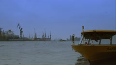 Close ship on the elbe - stock footage