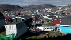 Greenland small town Qaqortoq 031 view from above on colorful Nordic town Stock Footage