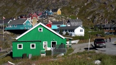 Greenland small town Qaqortoq 033 colorful settlement at hillside Stock Footage