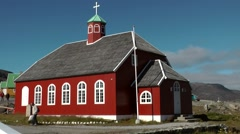 Greenland small town Qaqortoq 041 wooden church of the small town Stock Footage