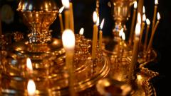 Burning candles in the curch Stock Footage