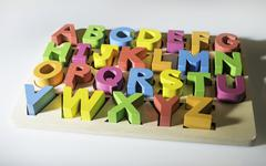 Latin alphabet multicolored letters Stock Photos