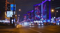Establishing shot. Moscow at winter, New year time, New Arbat street. Stock Footage