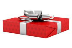 Red gift box with silver ribbon isolated on white background Piirros