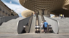Mechanical stairs in the Metropol Parasol, Seville, Spain. Stock Footage