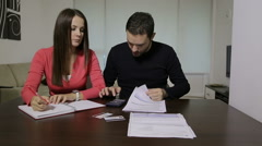 Couple with financial problem Stock Footage