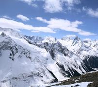 The beautiful landscape of the caucasus mountains dombai Stock Photos