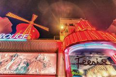 Paris - may 24, 2014: the moulin rouge cabaret in paris, france. moulin rouge Stock Photos