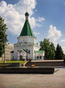 Memorial with an eternal flame and archangel michael cathedral. nizhny novgor Stock Photos