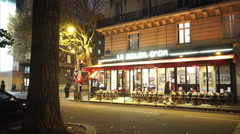 Stock Video Footage of Authentic street cafe in Paris by night
