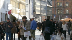 4K FHD European city crowded Christmas Fair Market Shopping crowds Germany Stock Footage