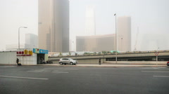 In the bad weather,the landmark of Guomao CBD are hazy at a distance Stock Footage