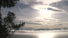 Beautiful Morning Above Columbia River Real Time Stock Footage