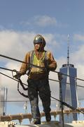 Work on Brooklyn Bridge Stock Photos