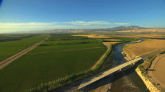 Aerial California USA Farming crops field vegetation agricultural Stock Footage