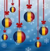 christmas background flags chad - stock illustration
