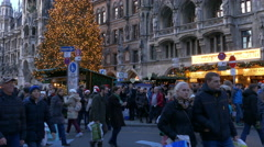 4K FHD European city Germany Munich Marienplatz Christmas Tree Fair Market Stock Footage