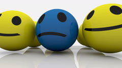 Smileys in yellow and blue color Stock Footage