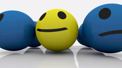 Smileys in blue and yellow color Stock Footage