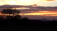 Autumn sunset landscape time lapse clouds Stock Footage