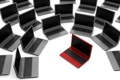 Red laptop among gray similar isolated on white background Stock Illustration
