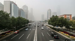 In the bad weather,the buildings in Guomao CBD are hazy at a distance, Beijing Stock Footage