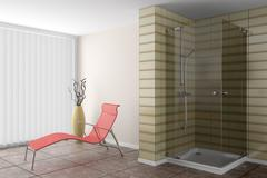 Modern bathroom with red couch and brown vase Stock Illustration