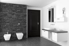 modern bathroom with black stone wall and white equipment - stock illustration