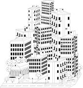 residential quarter - stock illustration