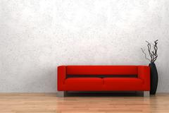 red sofa and vase with dry wood in front of white wall - stock illustration
