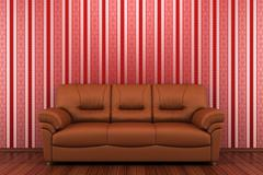 brown leather sofa in front of red stripped wall - stock illustration