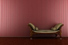 classic sofa in front of red striped wall - stock illustration