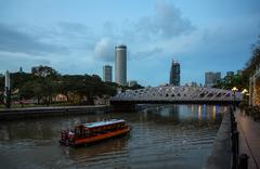 evening view of the singapore rive - stock photo