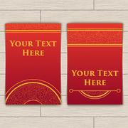 Set of Red-Gold Cards with Intricate Texture Stock Illustration