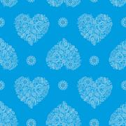 Background With Heartshape Floral Pattern - stock illustration
