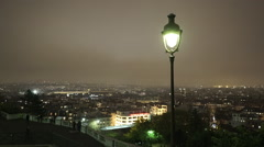 Aerial view of Paris by night - stock footage