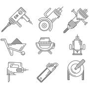 Black outline icons for construction equipment Stock Illustration